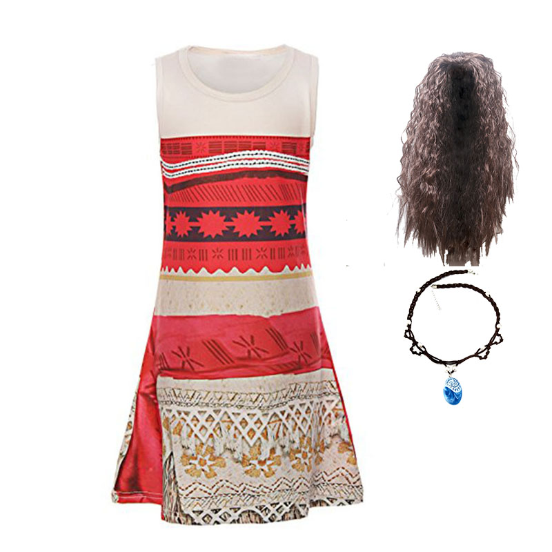2018 Baby girl clothes Princess dress Moana Cosplay Costume Children Vaiana Girls Party Wedding Moana dresses with Wig Costumes аксессуары для косплея cosplay wig cosplay cos cos