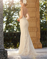 Amdml Fashion Novias Classic Lace On Net Mermaid Noble Wedding Dresses O-Neck Sexy Back Chapel Train Bridal Dresses Plus Size