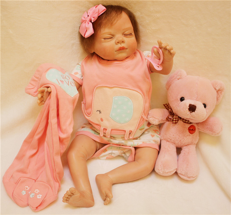 Real sleeping baby Doll reborn 22 inch 55cm fake baby girl silicone dolls with bear plush