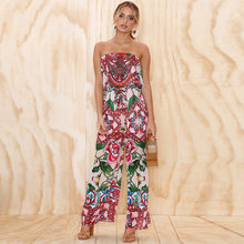 Floral Print Off Shoulder Women Sexy Strapless Backless Summer Beach Sleeveless Clothes(China)