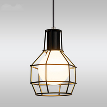 Loft living room restaurant bar dining room aisle bedroom pendant light retro iron cage industrial hendlight hanging lamps