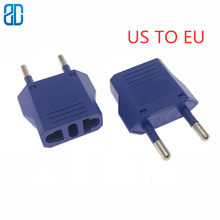 1pc US To EU Plug Power Adapter Blue Travel Power Plug Adapter Converter Wall Charger(China)