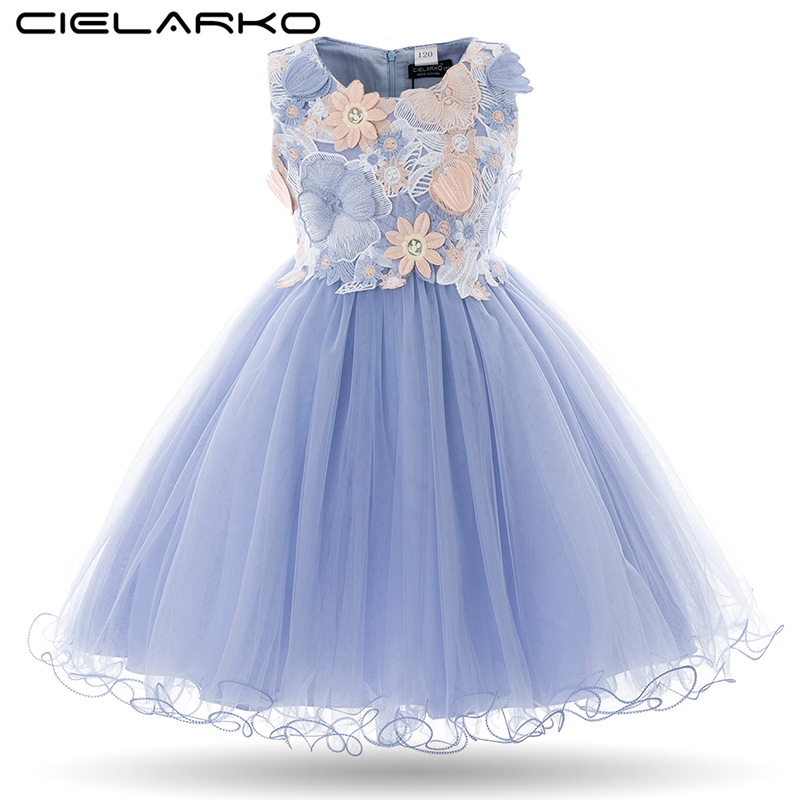 Cielarko Kids Girls Flower Dress Baby Girl Butterfly Birthday Party Kjoler Children Princess Fancy Ball Gown Wedding Clothes