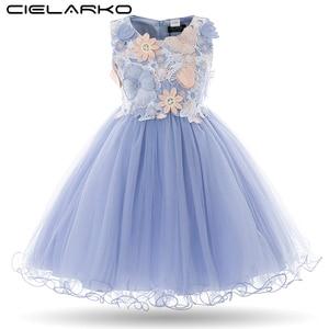 Image 1 - Cielarko Kids Girls Flower Dress Baby Girl Butterfly Birthday Party Dresses Children Princess Fancy Ball Gown Wedding Clothes
