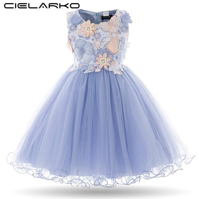 Cielarko Kids Girls Flower Dress Baby Girl Butterfly Birthday Party Dresses Children Princess Fancy Ball Gown Wedding Clothes
