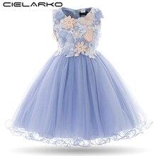 Cielarko robe princesse pour filles, motif floral, tenue de fête danniversaire, motif papillon, pour bal