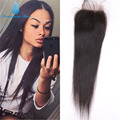 7A Unprocessed Indian Straight Lace Closure Bleached Knot 4*4 Cheap Virgin Human Hair Free/Middle/3 Part Closures With Baby Hair