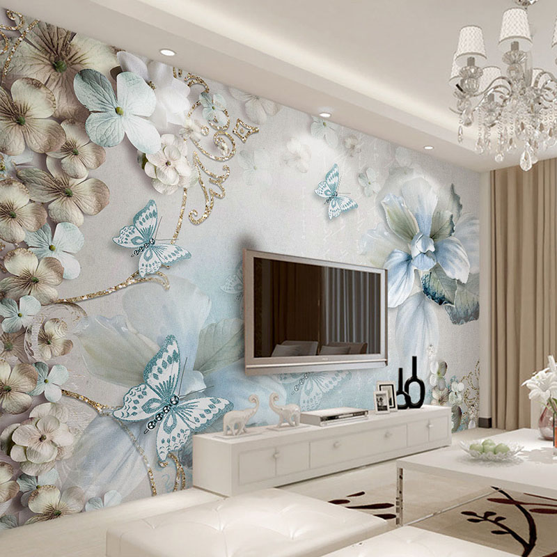 Custom photo wallpaper murals 3d mediterranean blue flower for Butterfly mural wallpaper