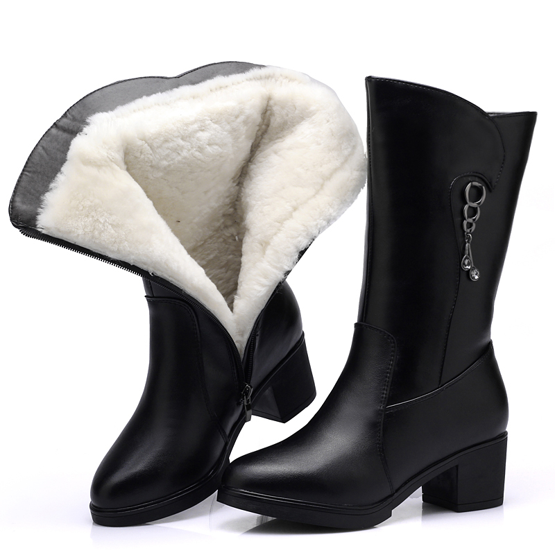 Women's Boots High Boot Genuine Leather Wool Warm Winter Boot Ankle Boots For Women Flat Fur Fashion Zipper Black Ladies Shoes pritivimin fn81 winter warm women real wool fur lined shoes ladies genuine leather high boot girl fashion over the knee boots