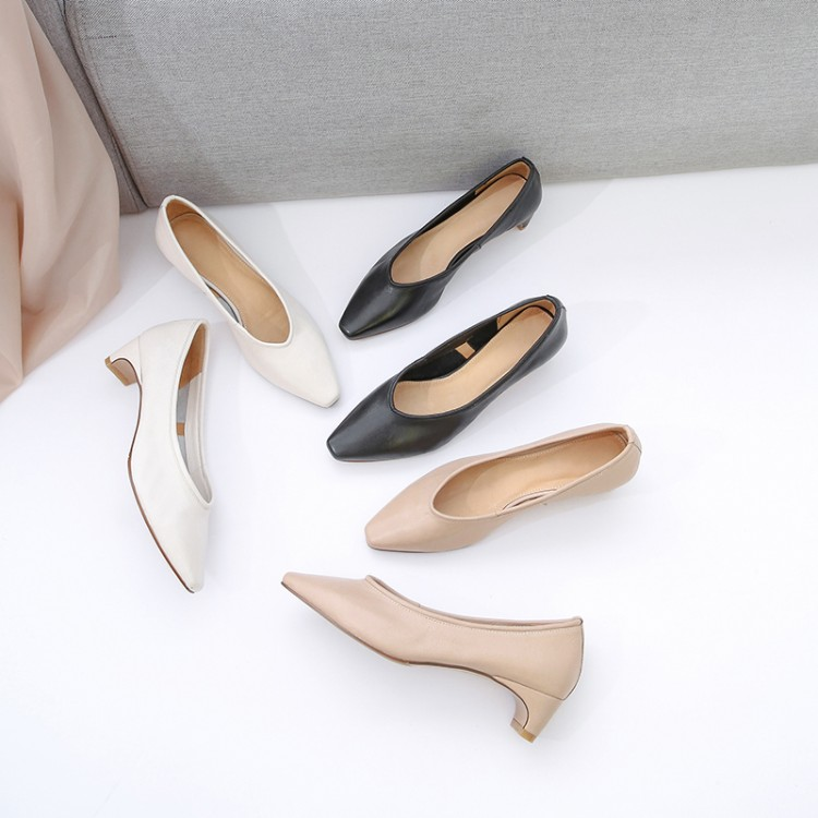 MLJUESE 2019 women pumps Soft Cow leather slip on black color autumn spring square toe high