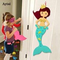 Aytai 1 개 펠트 DIY 공예 인어 벽 매달려 테마 생일 파티 용품 인어 장난감 생일 파티 장식 아이 100 센치메터