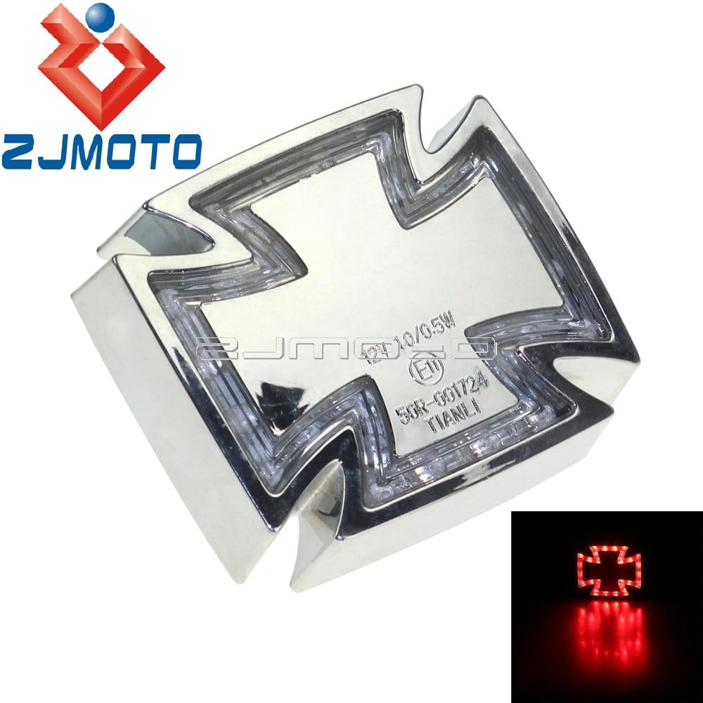 Motorcycle Chrome Custom Cross Maltese Red LED Taillight Brake Light For Honda VTX 1300 C R S RETRO Valkyrie Rune 1500 1800