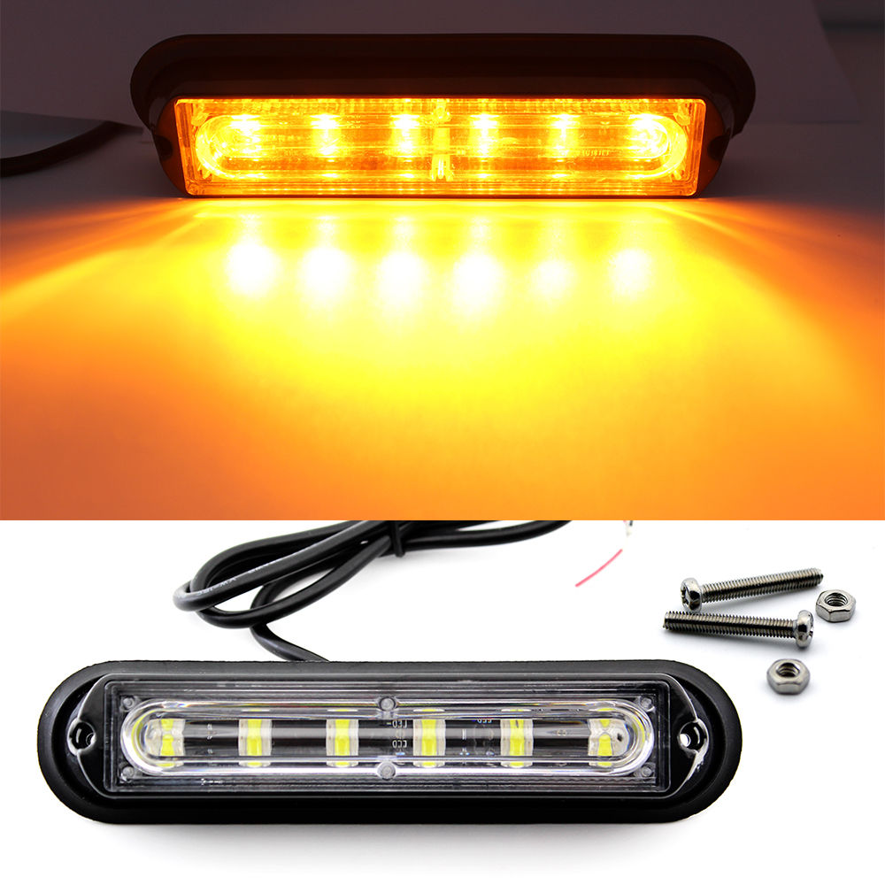 1 Pair 4 Led Amber Hazard Caution Emergency Strobe Light Bar Dc 12v Leds On For Cars And Trucks Car Suv Truck Trailer