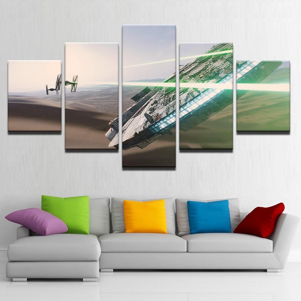 US $5.73 42% di SCONTO|Quadri su tela Per Soggiorno Wall Art Quadro 5 Pezzi  di Star Wars Millennium Falcon Dipinti Moderni Movie Poster Home Decor-in  ...