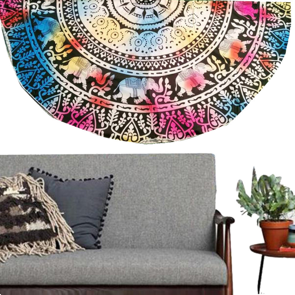 2018 topHigh Quality Multicolor Round Beach Pool Home Shower Towel Blanket Table Cloth Yoga Mat Oct10