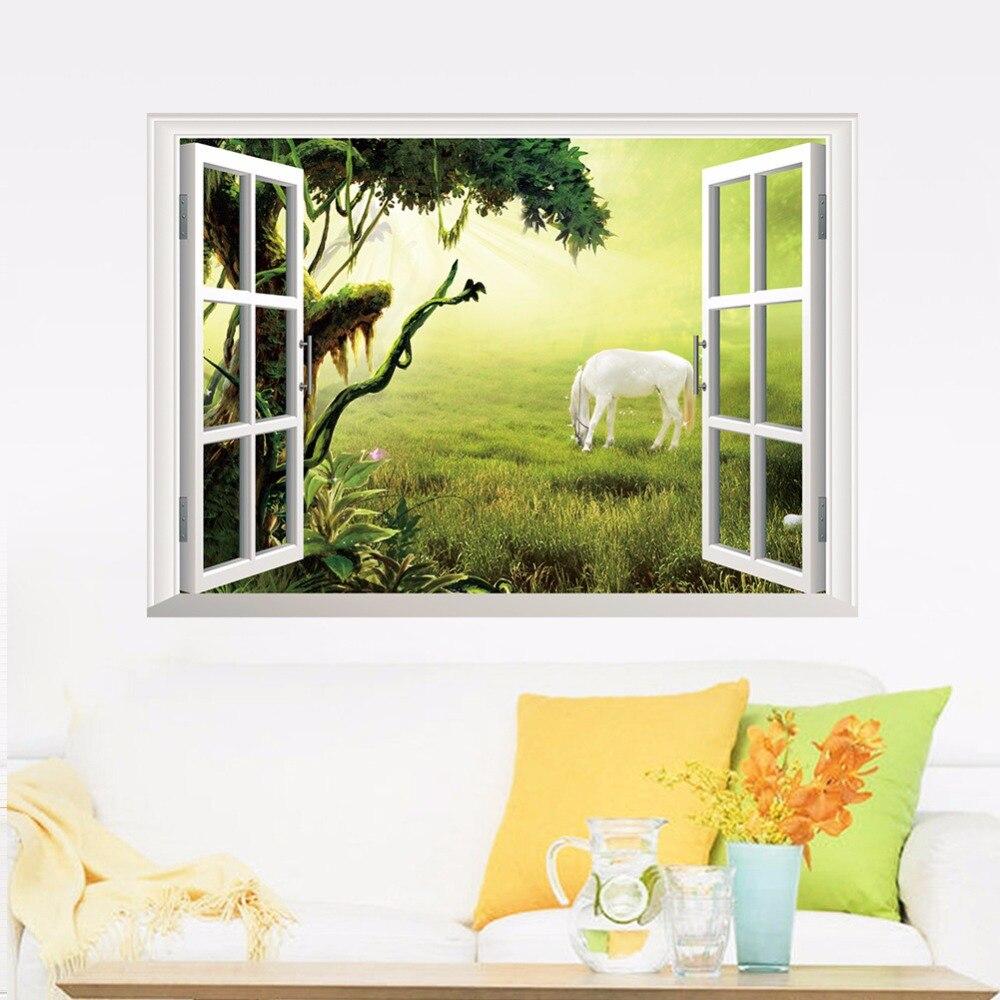 New arrival 3D False windows wall stickers Grassland White Horse ...