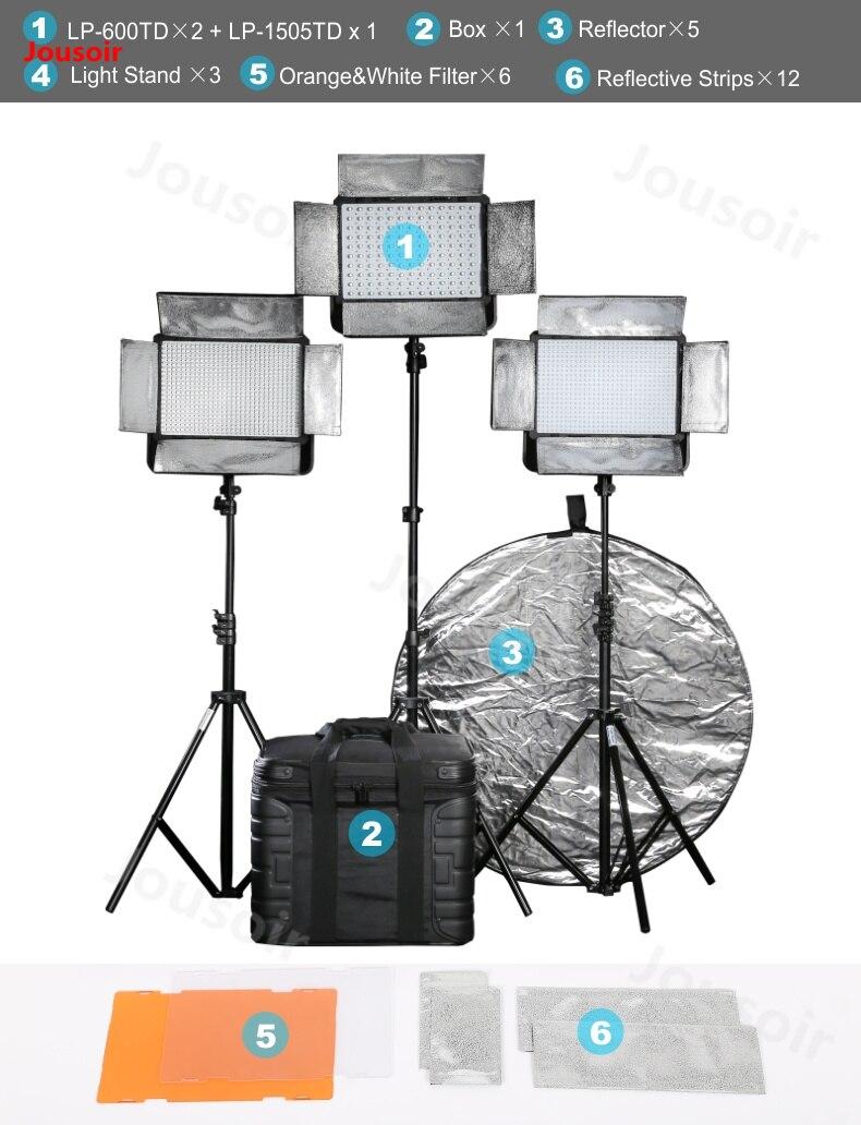 Falconeyes 36 Вт Светодиодная лампа в фотостудию с ЖК экраном LP 600TD * 2 + 75 Вт Профессиональный светодио дный свет LP 1505TD 3 свет комплект CD50 T06