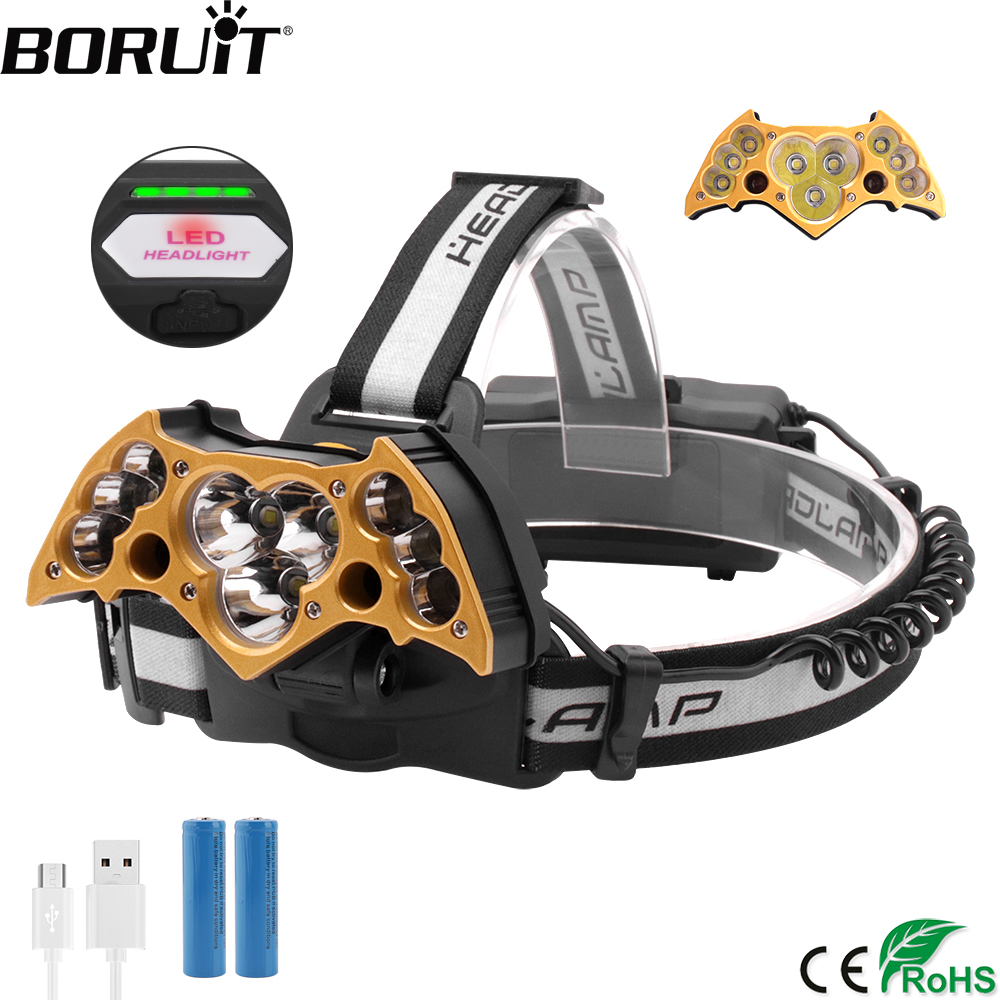 BORUiT SQ011-11 T6 XPE Red LED Headlamp 7-Mode Headlamp USB Charger Head Torch Camping Fishing Flashlight by 18650 BatteryBORUiT SQ011-11 T6 XPE Red LED Headlamp 7-Mode Headlamp USB Charger Head Torch Camping Fishing Flashlight by 18650 Battery