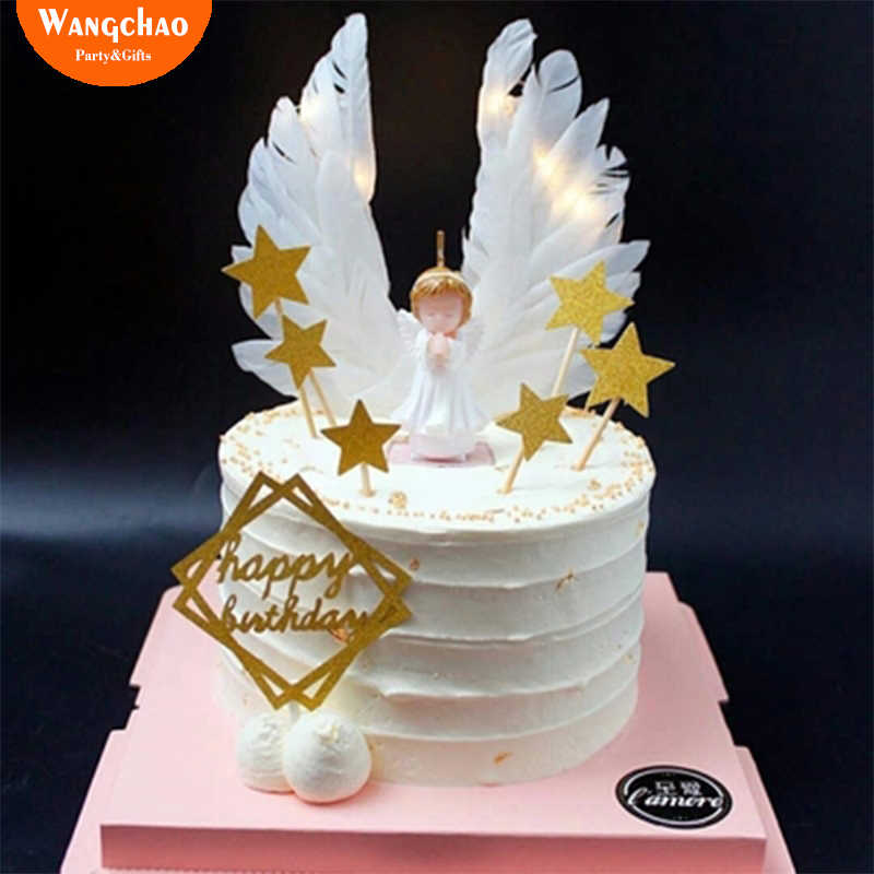Angel Wings Cake Topper Decoration Happy Birthday Party Supplies Kids Wedding Decorating