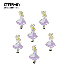 6pcs/lot Anime Jewelry Alice Wonderland Floating Enamel Charms Alloy Pendants For Jewelry Making Bracelet Necklace DIY Accessory