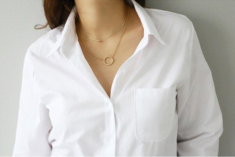 Spring One Pocket Women White Shirt Female Blouse Tops Long Sleeve 12