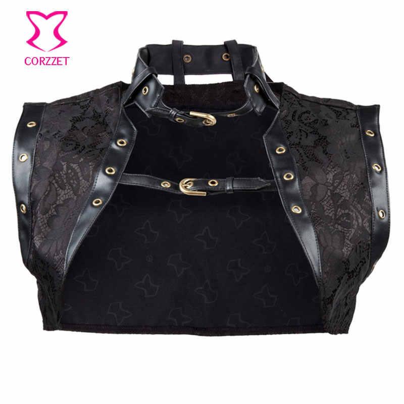 Черная парча куртка в псевдостаринном стиле Плюс Размер Женская безрукавка с кожаным воротником Готический корсет сексуальная одежда аксессуары