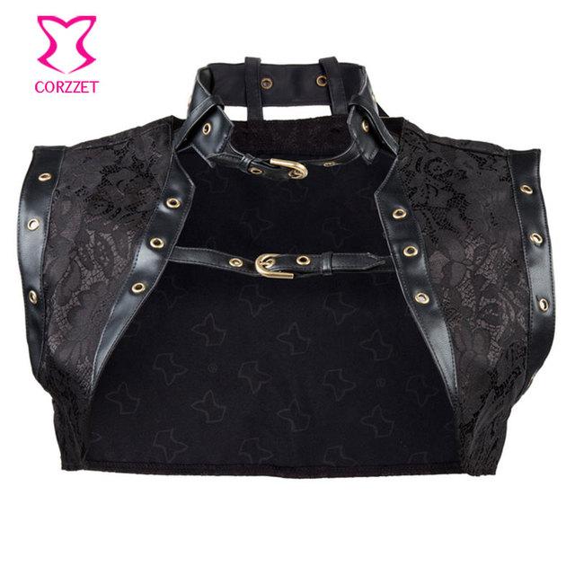 Negro Brocade Steampunk mujeres más tamaño sin mangas de la chaqueta de cuero con cuello corsé gótico atractivo accesorios de vestir