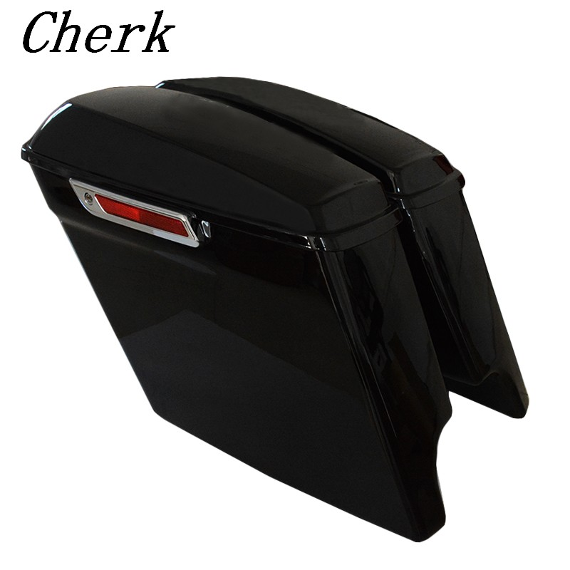 Motorcycle Vivid Black 5 Extended Stretched Saddlebags W/ Keys For Harley Touring Models Electra Glide FLHTCU 14-17 the black keys the black keys el camino 2 lp