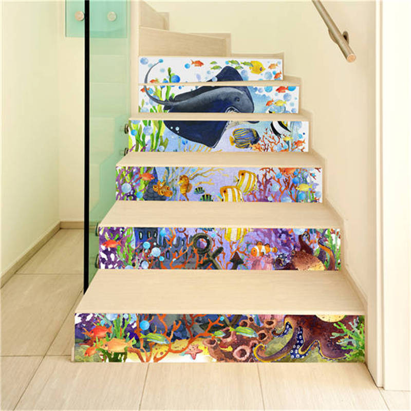 3D Stairway Stickers Tile 6 PiecesSet DIY Ceramic Geometric Pattern for Room Stairs DIY Decoration Home Floor Wall Sticker