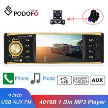 Podofo Autoradio 4019B 1 One Din MP3 Player Car Radio Audio USB AUX FM Radio Station Bluetooth Rearview Camera Remote Control cheap CN(Origin) Metal+Plastics 854 x 480 0 72kg Radio Tuner 21 00 x 18 00 x 9 00 cm In-Dash english 60W x 4 87 5 - 108 0MHz Support