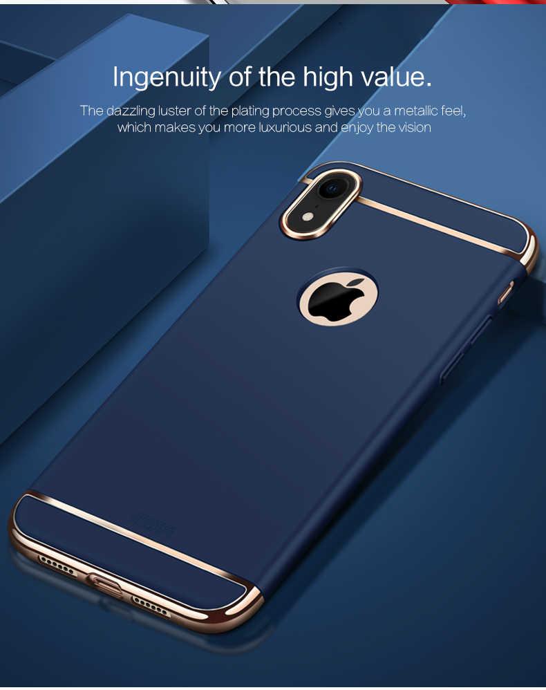 Caso Capa MOFI Para o iphone X XR XS Max Luxo Rígido PC 3 em 1 Chapeamento Quadro Caixa Do Telefone para iPhone 10 Dez Capa Escudo Protetor