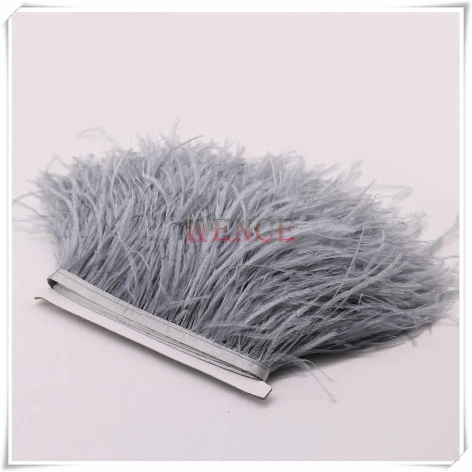 Pas cher 10 yards de longue teinte gris argent réel autruche plume garnitures frange avec ruban de satin autruche plume coupe