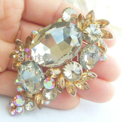Pretty Flower Brooch Pin w Brown Rhinestone Crystals KPA02087C5