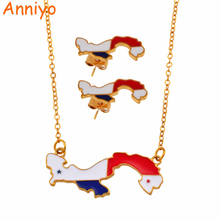 Anniyo Map of Panama Pendant Necklaces Earrings Jewelry Sets for Women Girls Panamanian Maps Jewelry Party Gift #136606 panama pendant necklace for women men 18k yellow gold plated jewelry map of panama necklaces 005105