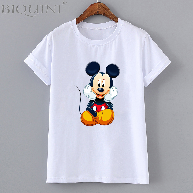 Summer  Fashion White Novelty Summer Woman Girl T Shirt Mickey Mouse Solid Color Cotton Tee Female Casual Short Sleeves Tops