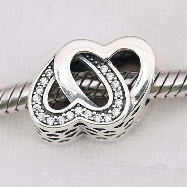 cf7e6be5b Fit Pandora Bracelets Diy Entwined Love Charms Original 925-Sterling-Silver Clear  CZ Interlocked Hearts Beads For Jewelry Making