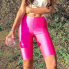 NewAsia Neon Biker Shorts Women 2019 New Solid Color Spandex Elastic High Waist Shorts Pink Sexy Bodycon Summer Shorts Black Red 1