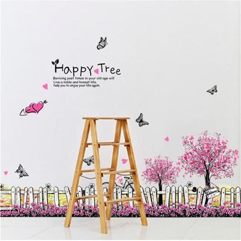 Творческий Романтический Вишневый сад стены наклейки, украшения гостиная фон спальня плинтус забор цветочной аппликацией