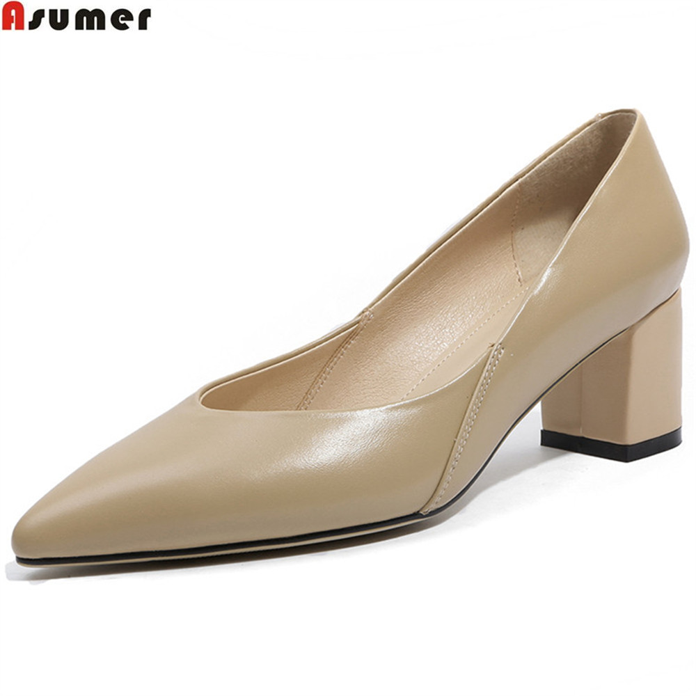 цена на ASUMER black fashion spring autumn shoes woman pointed toe shallow elegant square heel women genuine leather high heels shoes