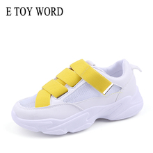 E TOY WORD Spring Autumn womens sneakers Breathable Mesh Sneakers Woman Hook & Loop White Women Shoes Basket Femme