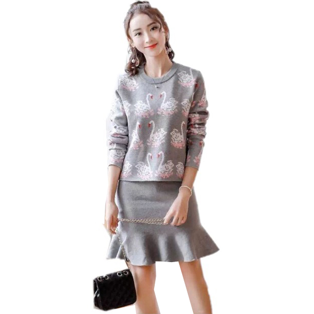 2018 Autumn Winter Womens Knitting Pattern Sweater and Skirts 2pcs Sets Brand Design Popular Pattern Clothing Sets ...