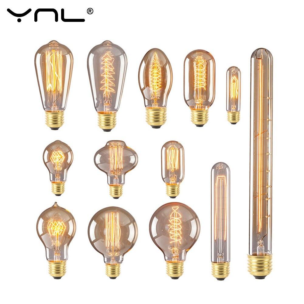 Ретро светильник Эдисона E27 220 В 110 40 Вт ST64 A19 G80 G95 нить накаливания винтажные