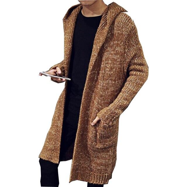 Осень Зима Свободные Длинные мужские кардиганы свитеры для женщин Новая мода Большой размеры Джемперы мужские с капюшоном Sueter вязаный трик...