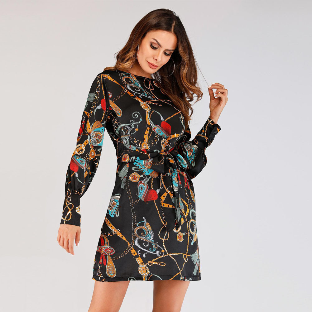 Women Print Dress Round Neck Long Sleeves Slim Fit Casual Female Dress for Summer -MX8