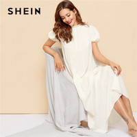 SHEIN Lace Detail Pleated Yoke Puff Sleeve Night Dress Women Summer White Stand Collar Maxi Nightgown Lady Casual Sleep Wear