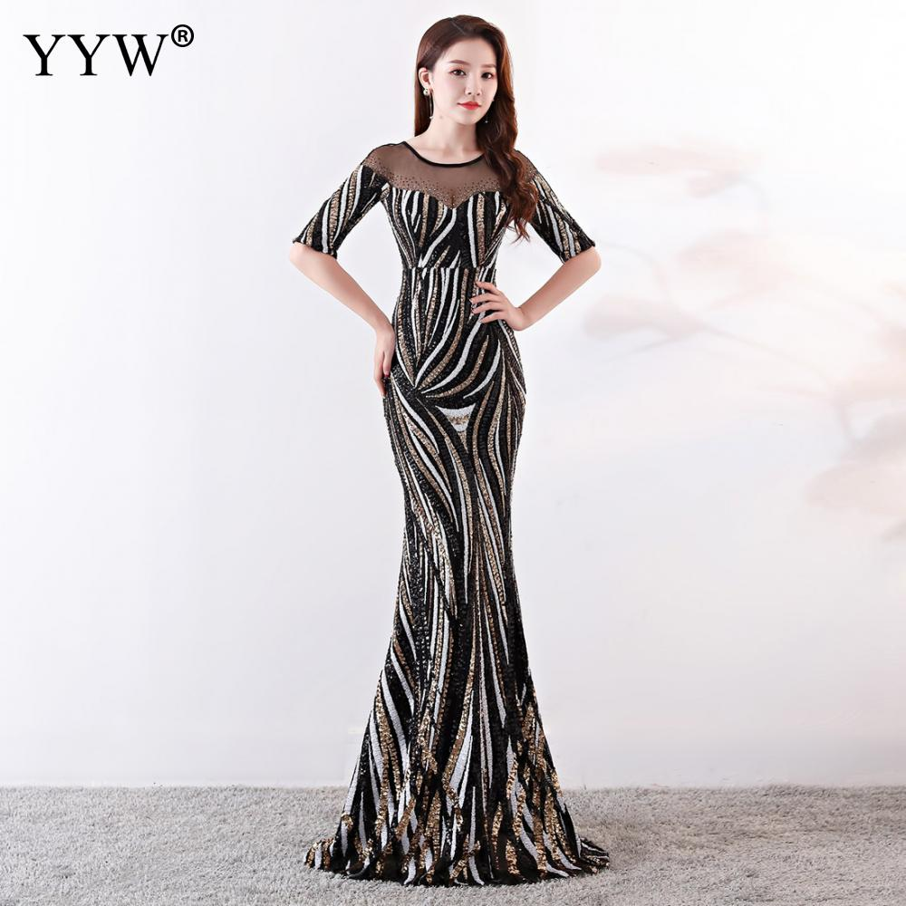 Image 2 - Crystal O Neck Striped Sequined Mermaid Long Dresses Elegant Half  Sleeve Illusion Backless Party Formal Gowns Ladies Maxi DressEvening  Dresses