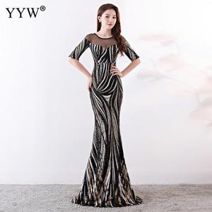 Image 2 - Crystal O Neck Striped Sequined Mermaid Long Dresses Elegant Half Sleeve Illusion Backless Party Formal Gowns Ladies Maxi Dress