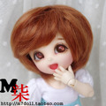 Bjd doll wig 1/8 1/6 5-6inch 6-7inch short hair orange red synthetic mohair wig