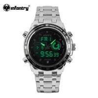 INFANTRY Mens Watches Reloj Digital Quartz Watches Silver Stainless Steel Luminous Alarm Clock Men Military Watches