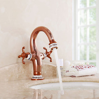 Basin Faucet Blue and White Porcelain Luxury Single Hole Dual Han Antique Rose Gold Brass Vessel Sink Tap for Kitchen & Bathroom